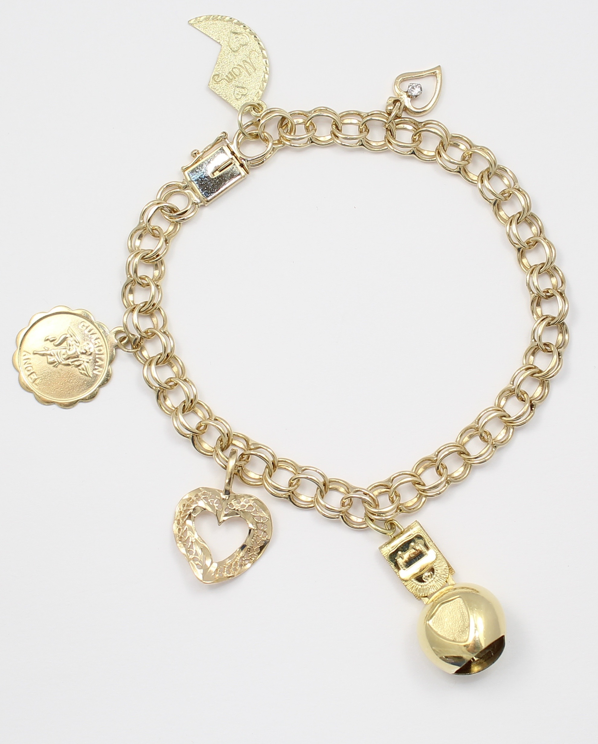 14k Yellow Gold Charm Bracelet With Charm Ladies Bracelet