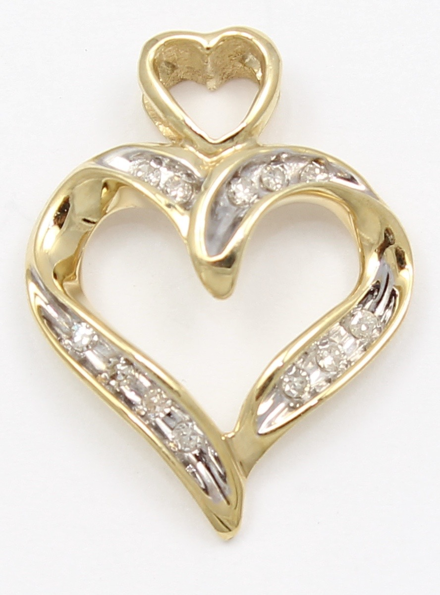 10k yellow gold diamond heart necklace pendant ebay for 10k gold jewelry