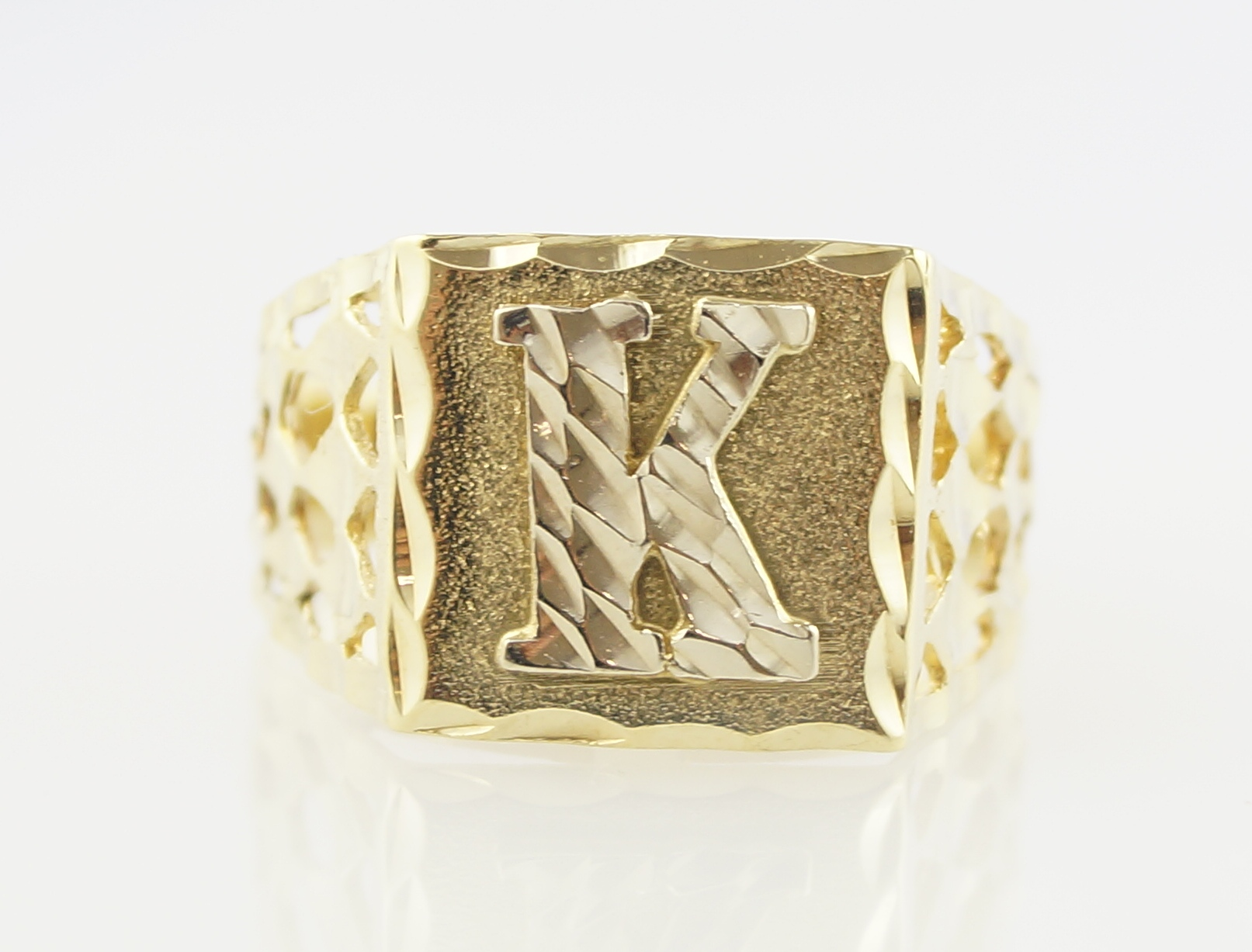 letter a gold ring 10k yellow gold cut letter k initial ring ebay 17510 | 30April162015