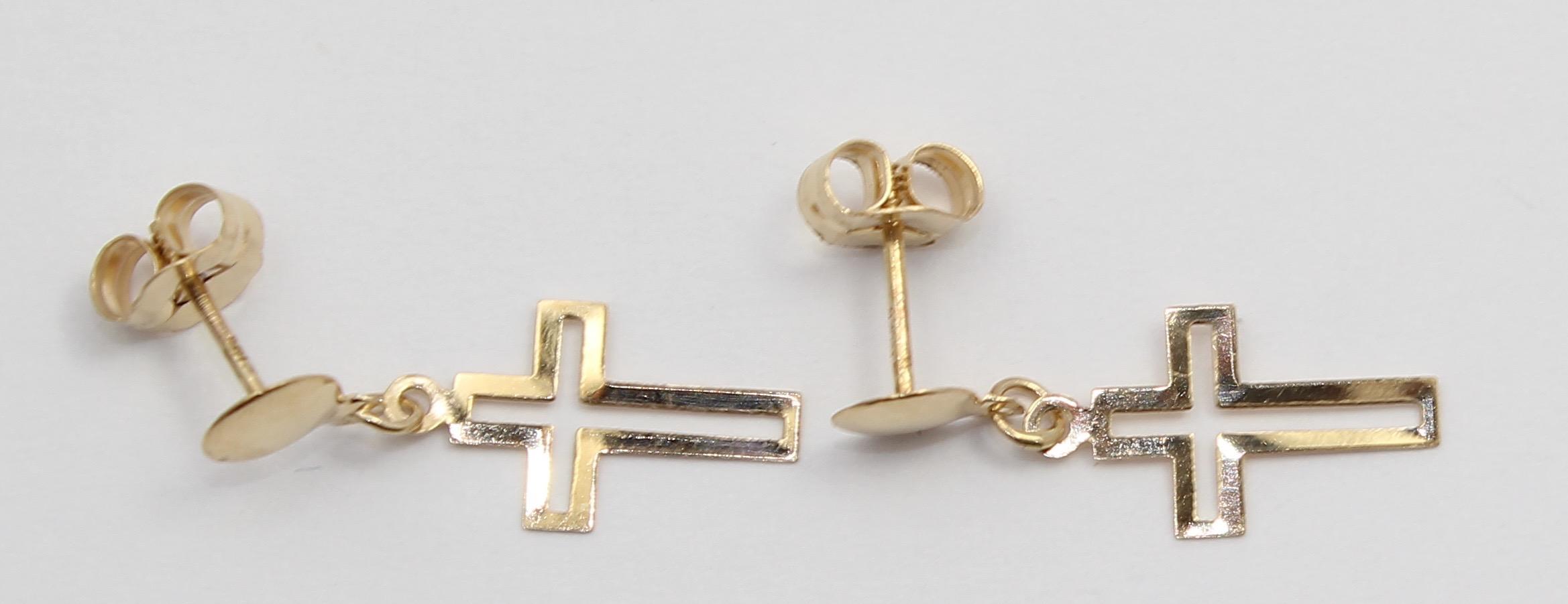 14k yellow gold hanging cross earrings ebay