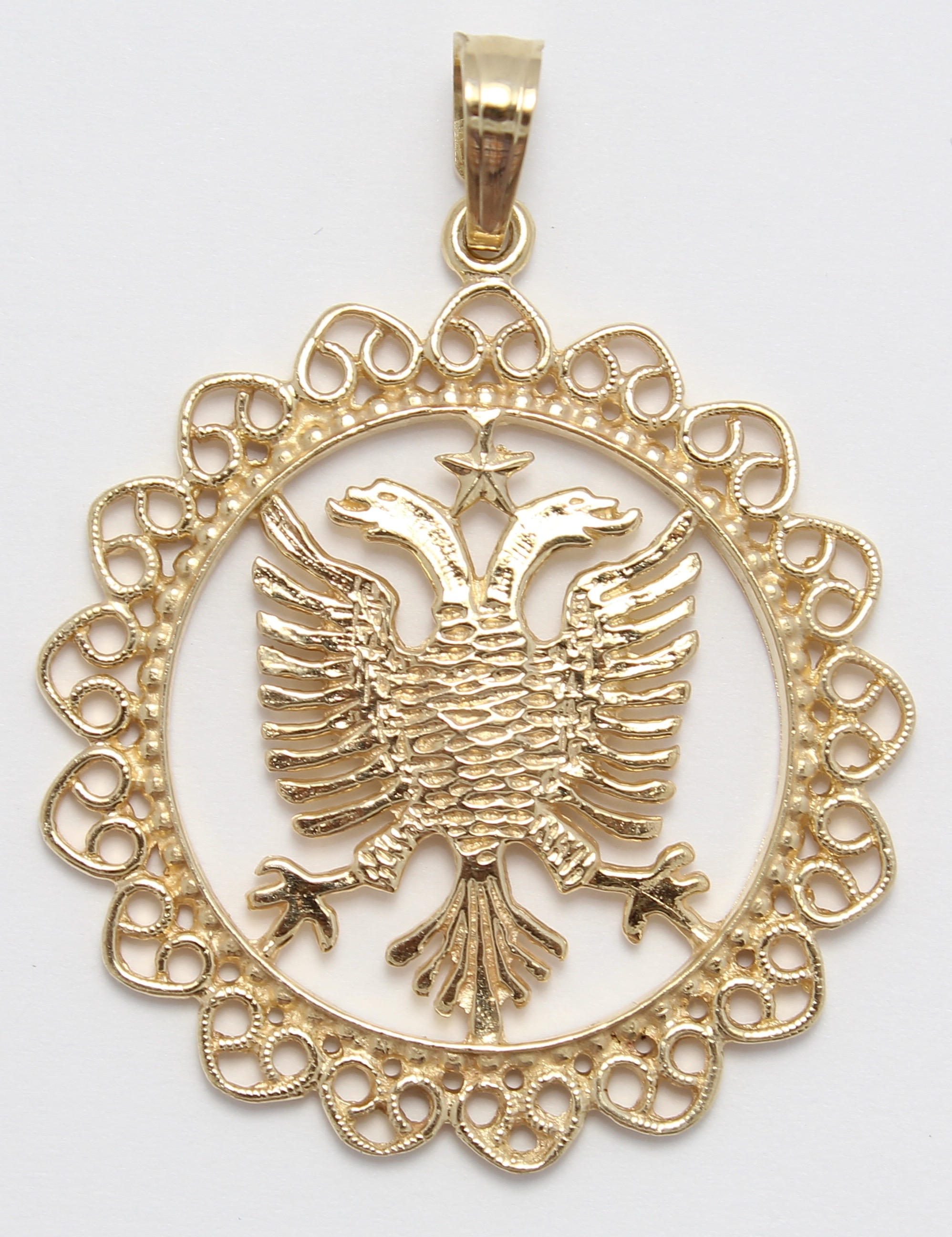 14k yellow gold albanian flag necklace pendant ebay