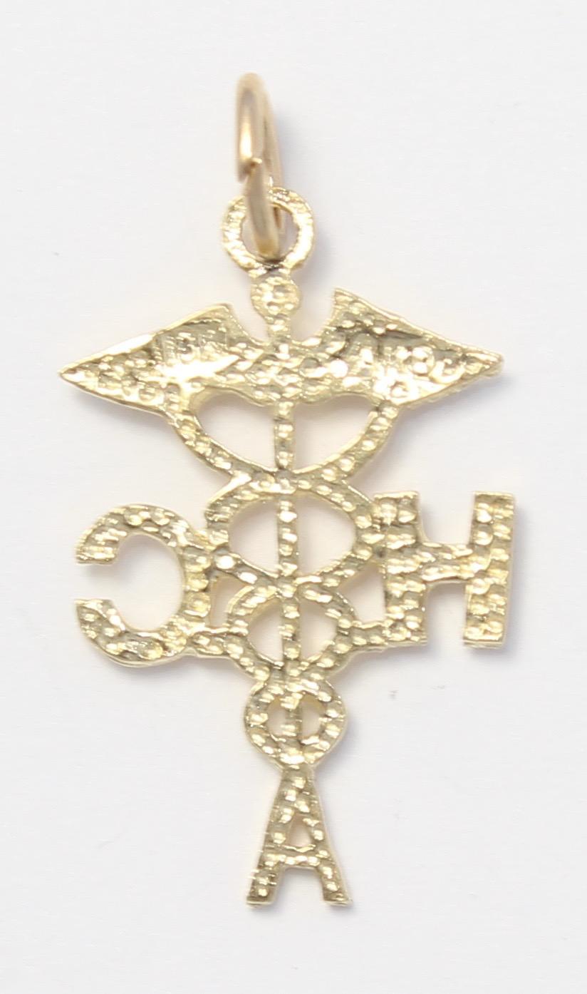 10k Yellow Gold Diamond Cut Hac Medical Symbol Charm Necklace