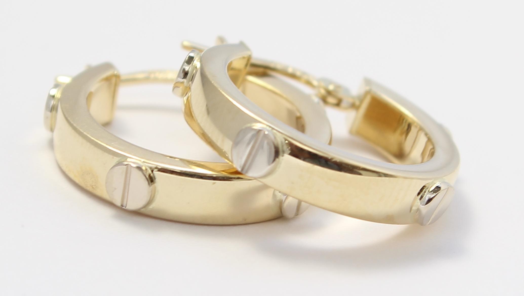 Image Is Loading 14k Yellow Gold Style Las Hoop Earrings