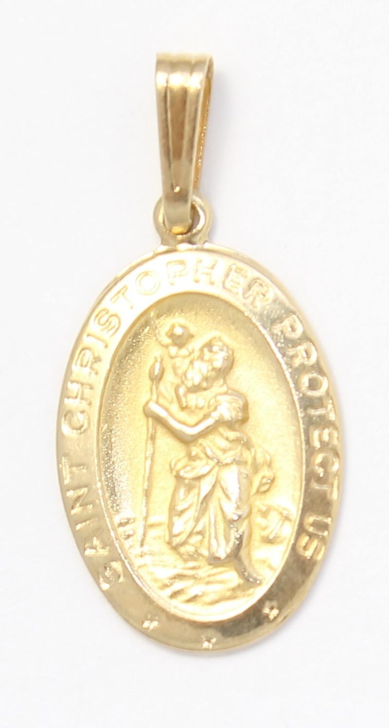 14k yellow gold saint christopher charm necklace pendant. Black Bedroom Furniture Sets. Home Design Ideas