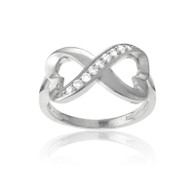 Sterling Silver Half CZ Heart Infinity Ring