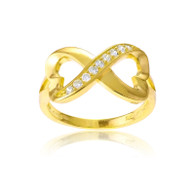 Yellow Gold Plated Sterling Silver Half CZ Heart Infinity Ring