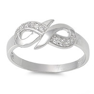 Infinity Ring - Sterling Silver with Cubic Zirconia