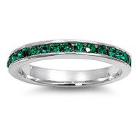 Sterling Silver Classy Eternity Band Ring with Emerald Simulated Crystals on Channel Setting with Rhodium Finish, Band Width 3MM