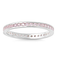 Sterling Silver Classy Eternity Band Ring with Pink Simulated Crystals on Channel Setting with Rhodium Finish, Band Width 2MM