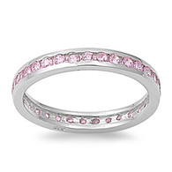 Sterling Silver Classy Eternity Band Ring with Pink Simulated Crystals