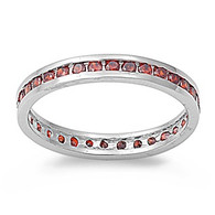 Sterling Silver Classy Eternity Band Ring with Garnet Simulated Crystals