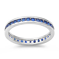 Sterling Silver Classy Eternity Band Ring with Blue Sapphire Simulated Crystals