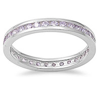 Sterling Silver Classy Eternity Band Ring with Tanzanite Simulated Crystals