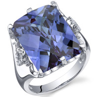 Royal Marvel 16.00 Carats Radiant Cut Alexandrite Sterling Silver Ring