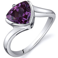 Trillion Cut Bypass Style 2.50 carats Alexandrite Sterling Silver Ring