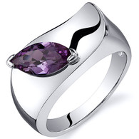 Musuem Style Marquise Cut 1.25 carats Alexandrite Sterling Silver Ring