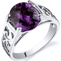 3.50 carats Alexandrite Solitaire Sterling Silver Ring