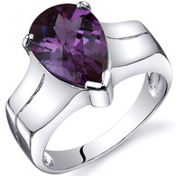 Brilliant 3.75 carats Alexandrite Solitaire Sterling Silver Ring