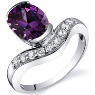Channel Set 2.75 carats Alexandrite Diamond CZ Sterling Silver Ring