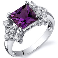 Princess Cut 2.25 carats Alexandrite Cubic Zirconia Sterling Silver Ring