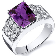 Radiant Cut 3.00 carats Alexandrite Cubic Zirconia Sterling Silver Ring