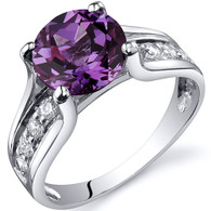 Solitaire Style 2.75 carats Alexandrite Sterling Silver Ring