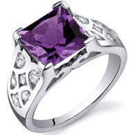 V Prong Princess Cut 3.00 carats Alexandrite Sterling Silver Ring
