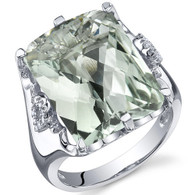 Royal Marvel 11.00 Carats Radiant Cut Green Amethyst Sterling Silver Ring