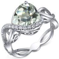 Swirl Design 3.00 Carats Heart Shape Green Amethyst Sterling Silver Ring