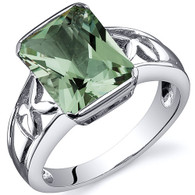 Large Radiant Cut 2.75 carats Green Amethyst Solitaire Sterling Silver Ring