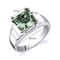 Step Design Princess Cut 2.00 carats Green Amethyst Sterling Silver Ring