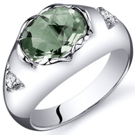 Oval 1.50 carats Green Amethyst Sterling Silver Ring