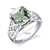V Prong Princess Cut 2.00 carats Green Amethyst Sterling Silver Ring