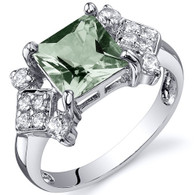 Princess Cut 1.50 carats Green Amethyst Cubic Zirconia Sterling Silver Ring