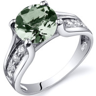 Solitaire Style 1.75 carats Green Amethyst Sterling Silver Ring