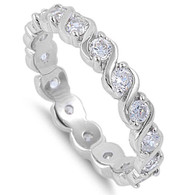 Sterling Silver Multi Round Simulated Diamonds on Half-Bezel Twisted Setting Anniversary Band