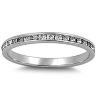 Sterling Silver Classy Eternity Band Ring with Clear Swarovski Simulated Crystals