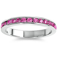 Sterling Silver Classy Eternity Band Ring with Rose Pink Swarovski Simulated Crystals 3mm