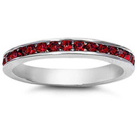 Sterling Silver Classy Eternity Band Ring with Garnet Swarovski Simulated Crystals