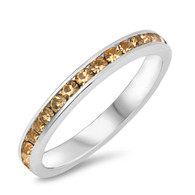 Sterling Silver Classy Eternity Band Ring with Champagne Simulated Crystals
