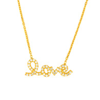 Gold Plated Sterling Silver Cz Love Necklace