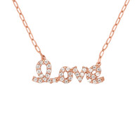 Rose Gold Plated Sterling Silver Cz Love Necklace