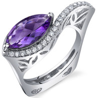 Filigree Style 2.00 Carats Marquise Cut Amethyst Sterling Silver Ring