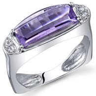 Radiant and Seductive 2.00 Carats Barrel Cut Amethyst Sterling Silver Ring