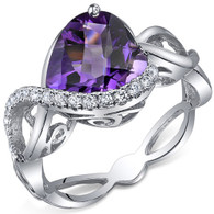 Swirl Design 3.00 Carats Heart Shape Amethyst Sterling Silver Ring