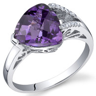 Dazzling Color 2.00 Carats Trillion Amethyst Sterling Silver Ring