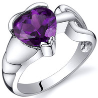 Love Knot Style 1.75 carats Amethyst Sterling Silver Ring
