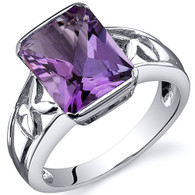 Large Radiant Cut 2.75 carats Amethyst Solitaire Sterling Silver Ring