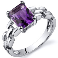 Chain Link Design 1.25 carats Amethyst Engagement Sterling Silver Ring