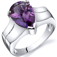 Brilliant 2.50 carats Amethyst Solitaire Sterling Silver Ring